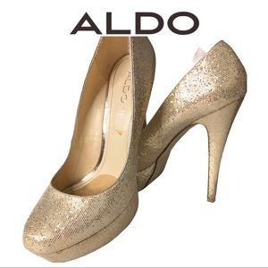 Aldo Rose Gold Glitter Stiletto Platform High Heel
